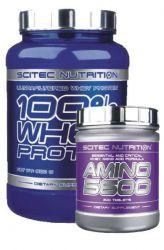 Výhodný balíček pro nabírání čisté svalové hmoty 2 - Scitec 100% Whey protein 2350 g + Scitec Amino 5600 500 tbs. - po registraci SLEVA! příchuť vanilka