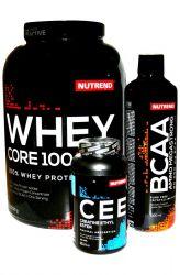 Výhodný balíček pro nabírání čisté svalové hmoty 1 - Nutrend Whey Core 100 - 2250 g + Nutrend Amino BCAA Mega Strong 1000 ml + Nutrend Creatine Ethyl Ester (CEE) 120 kapslí - po registraci SLEVA!