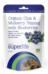 Superlife Organic Chia & Mulberry Topping s borůvkami 200 g