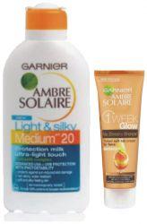 Ambre Solaire Opalovací mléko Light and Silky OF 20 ─ 200 ml + Tónovací krém 50 ml ...