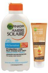 Zobrazit detail - Ambre Solaire Opalovací mléko Sensitive OF 50+ 400 ml + Tónovací krém 50 ml ZDARMA