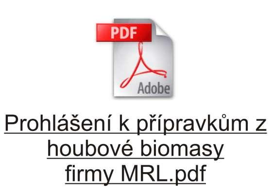 Prohlášení k přípravkům z houbové biomasy firmy MRL