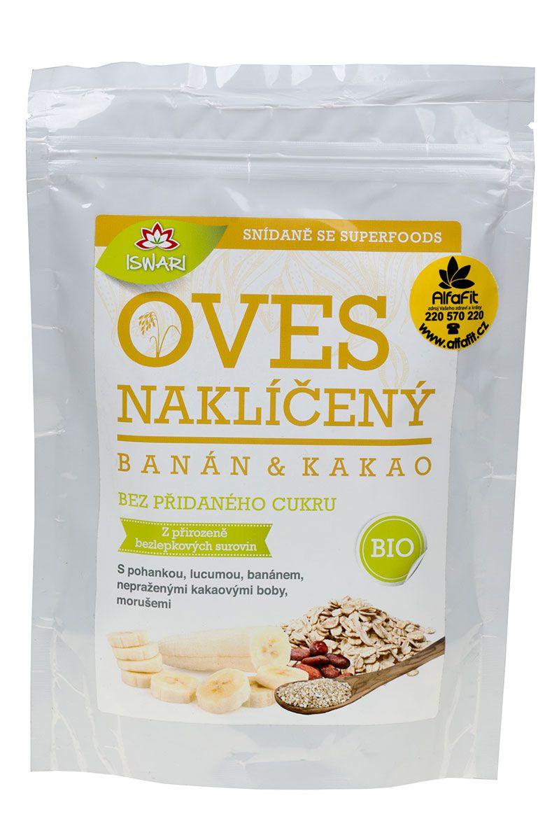 Iswari BIO Oves naklíčený ─ bezlepkové vločky 360 g ─ banán & kakao