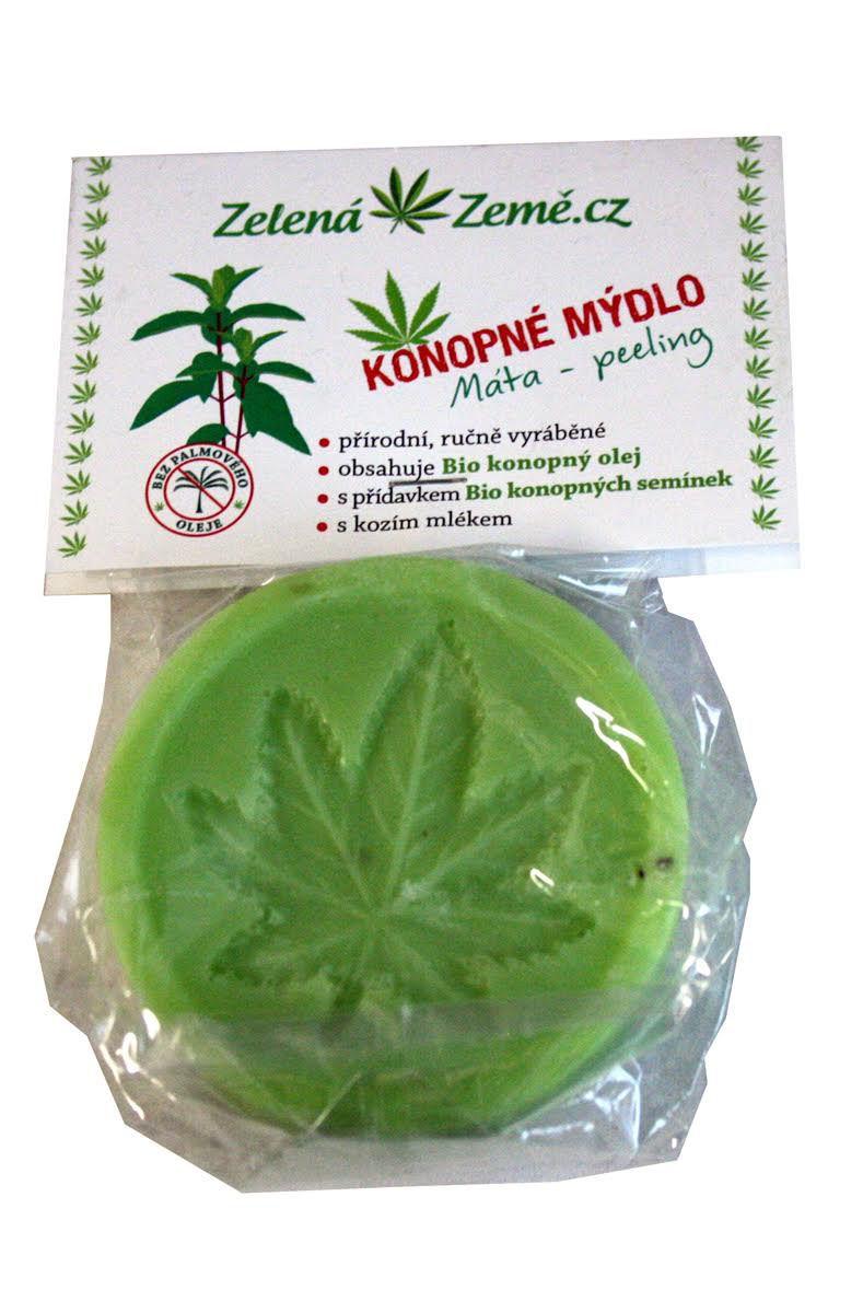 Zelená Země Konopné mýdlo – máta peeling 80 g