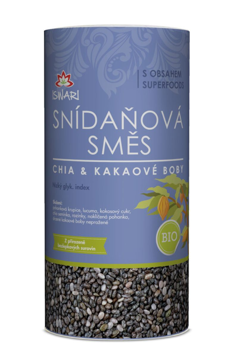 Iswari BIO Snídaňová směs 800 g ─ chia & kakaové boby
