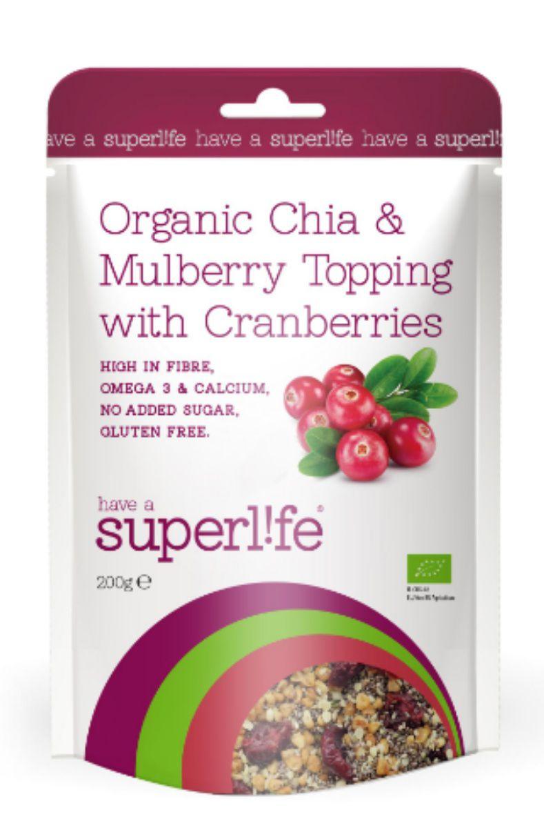 Superlife Organic Chia & Mulberry Topping s brusinkami 200 g