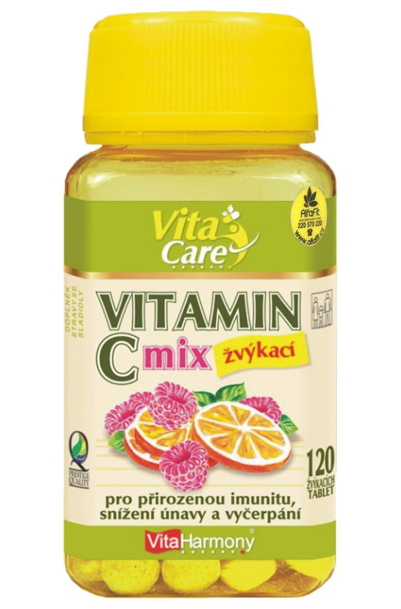 VitaHarmony Vitamín C 120 tablet žvýkacích - příchuť pomeranč & malina