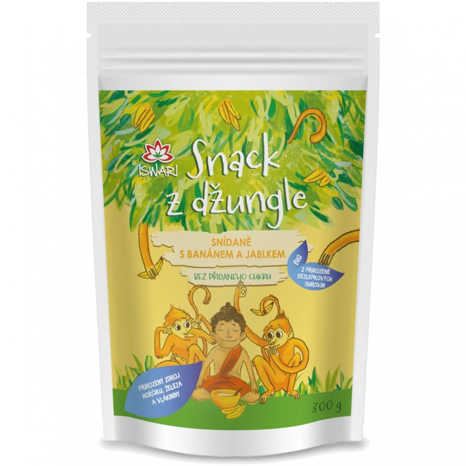 Iswari BIO Snack z džungle 300 g - snídaně s banánem a jablkem