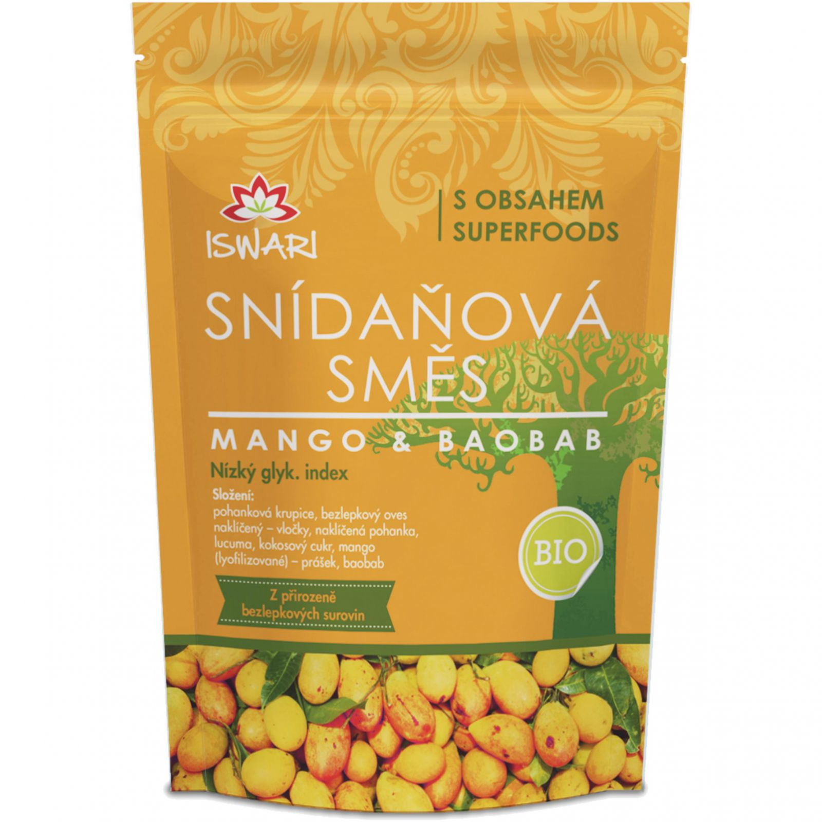 Iswari BIO Snídaňová směs 360 g - mango & baobab