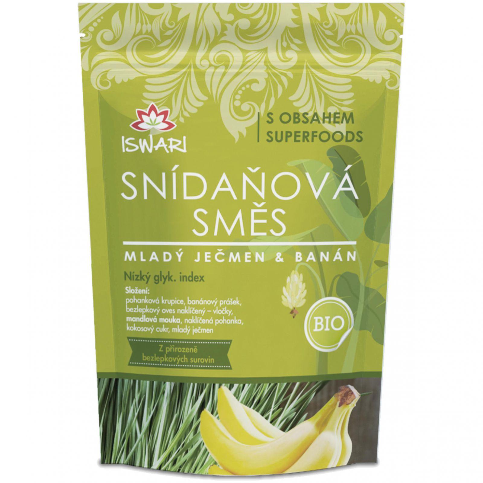 Iswari BIO Snídaňová směs 360 g - mladý ječmen & banán