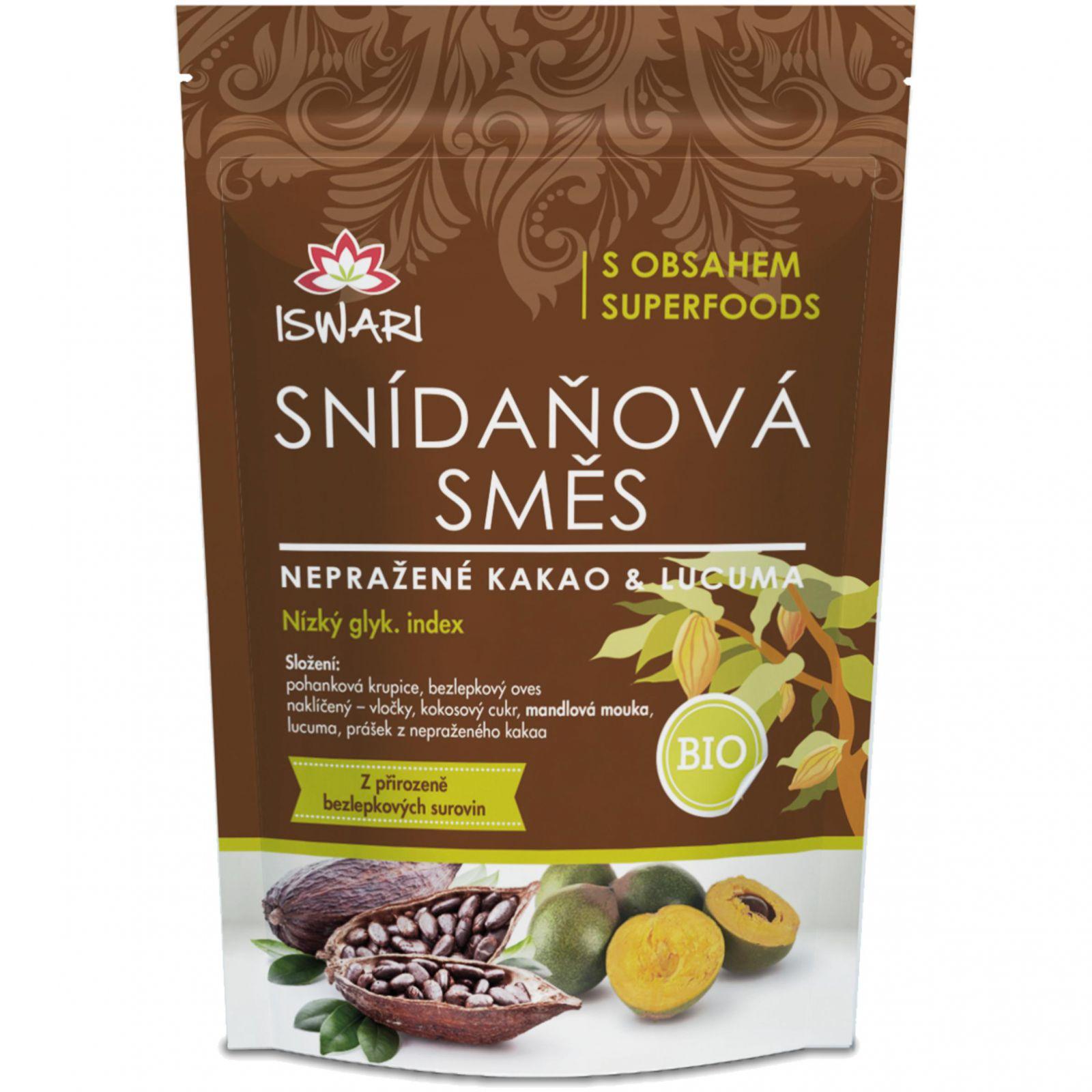 Iswari BIO Snídaňová směs 360 g - nepražené kakao & lucuma