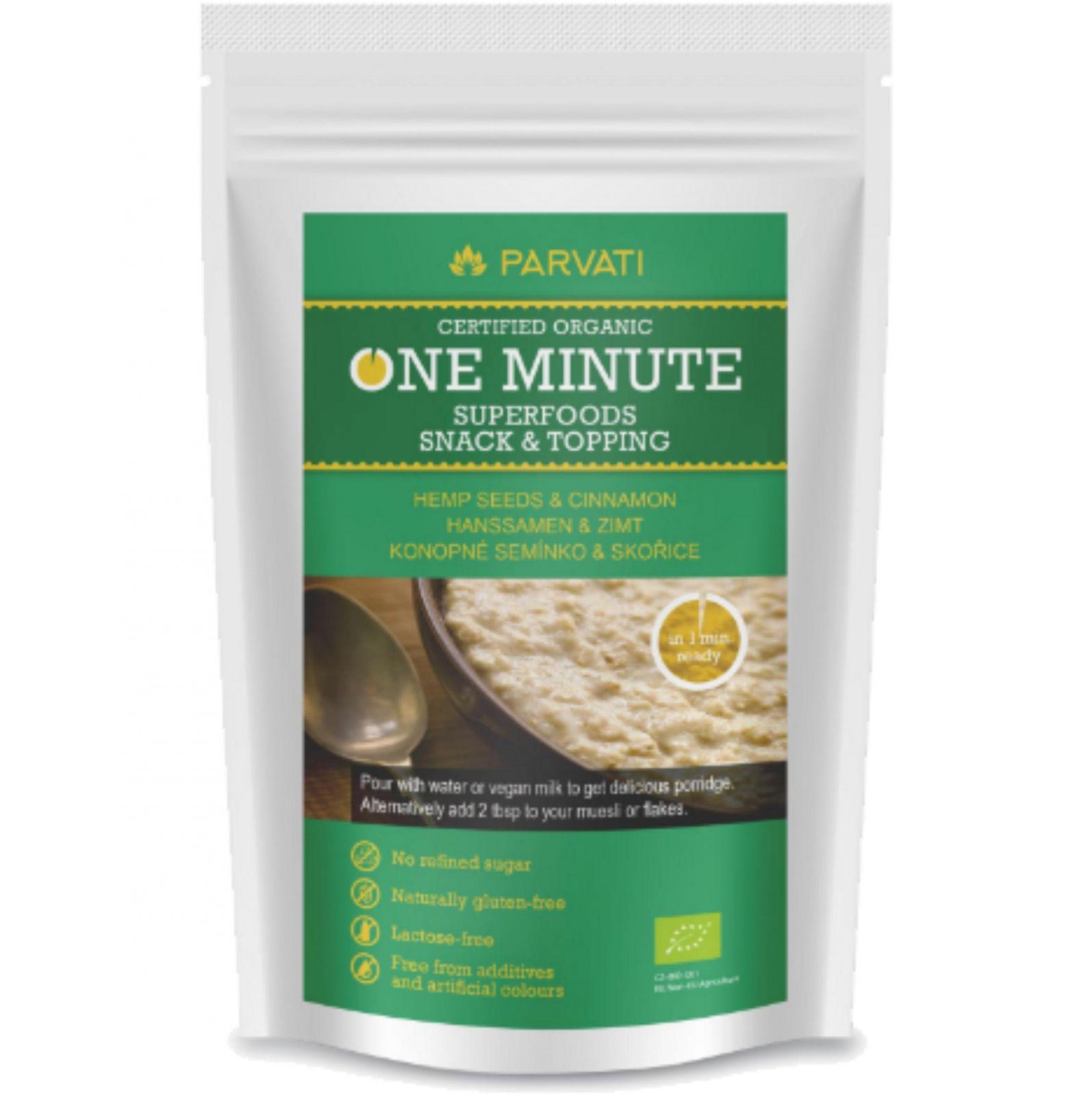 Parvati One Minute Snack 300 g – konopné semínko & skořice