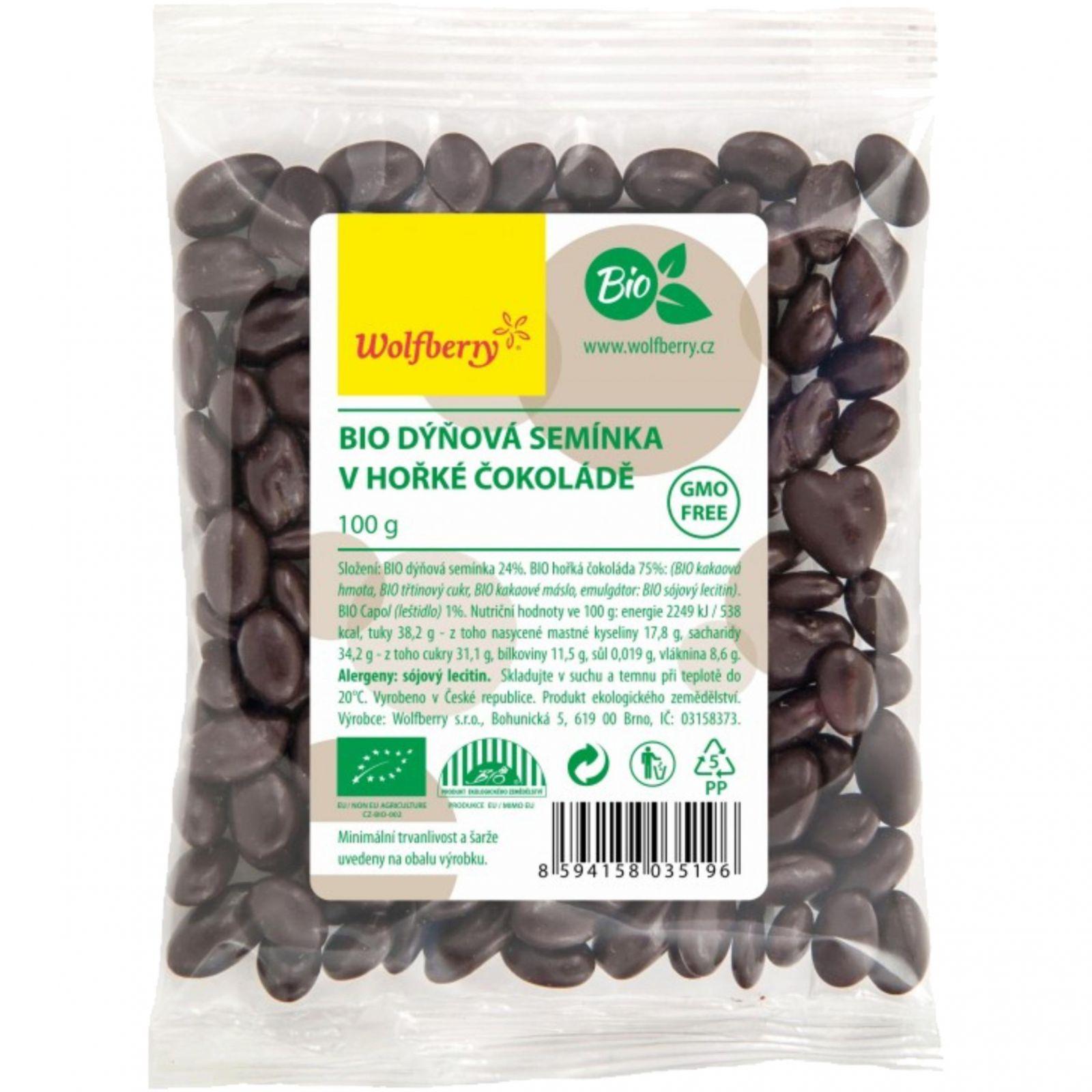 Wolfberry Dýňové semínko BIO v hořké čokoládě 100 g