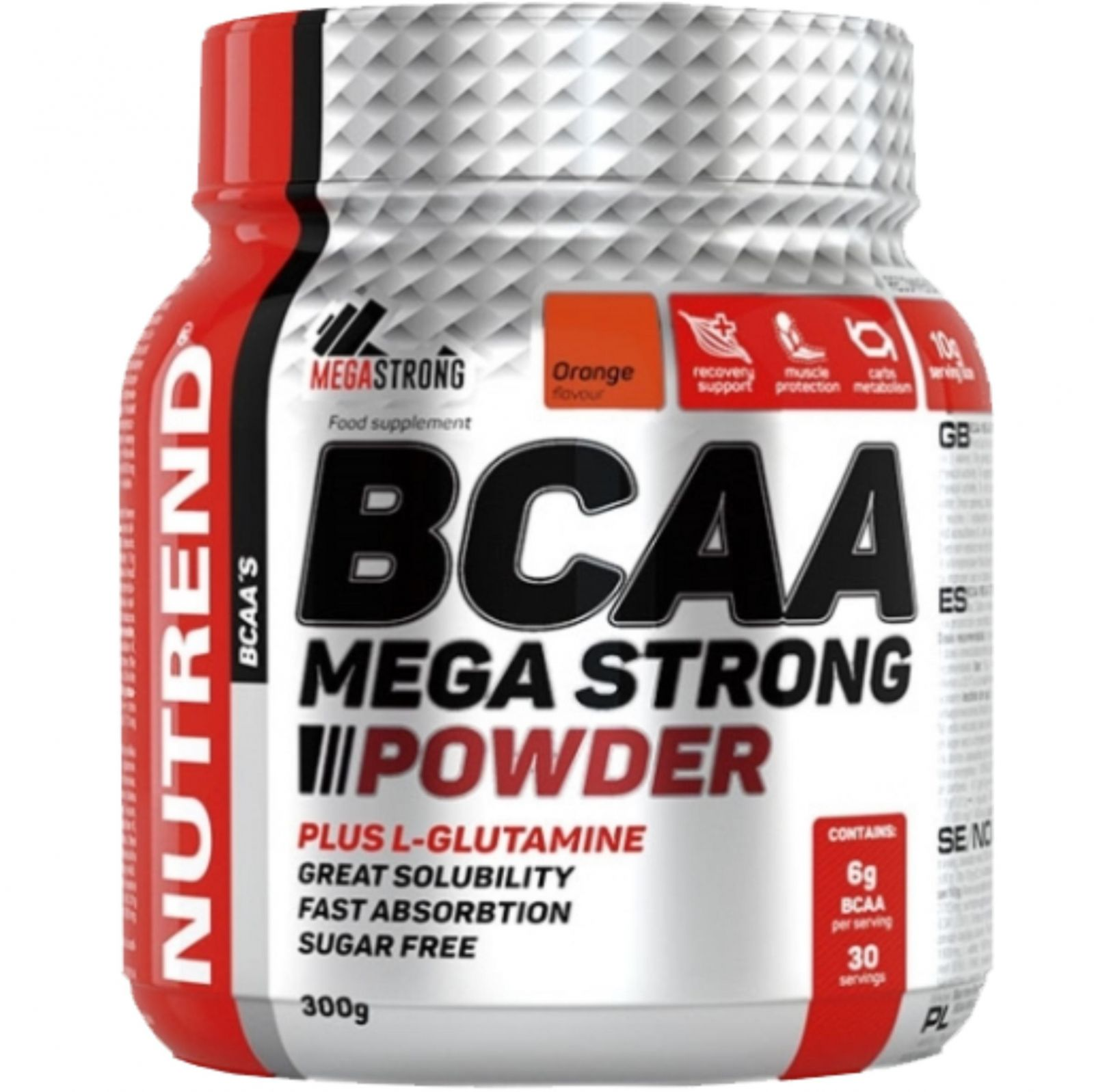 Nutrend BCAA Mega strong powder 300 g ─ pomeranč