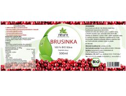 AlfaFit BIO Brusinka 100% šťáva 500 ml - etiketa