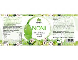 AlfaFit BIO Noni 100% šťáva 500 ml - etiketa