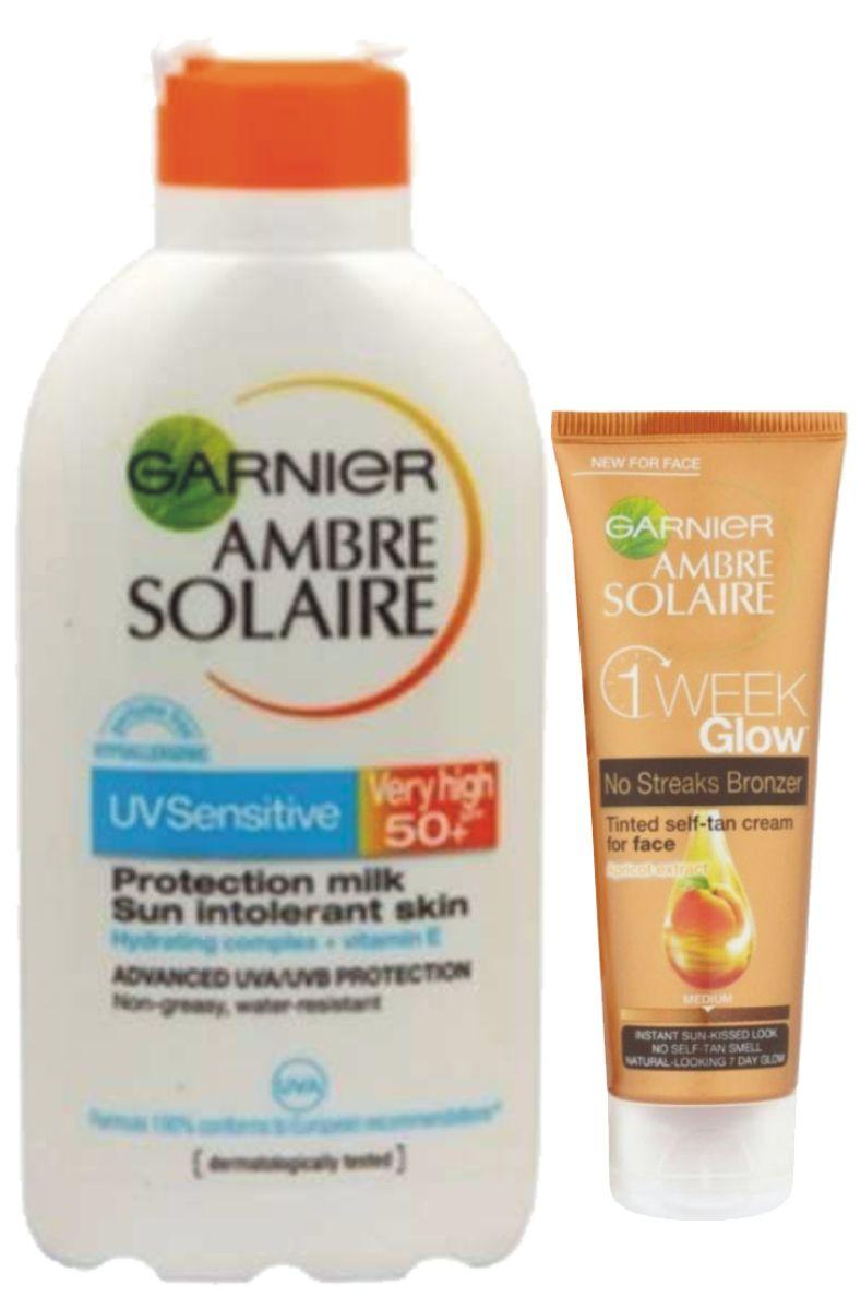 Ambre Solaire Opalovací mléko Sensitive OF 50+ 400 ml + Tónovací krém 50 ml ZDARMA